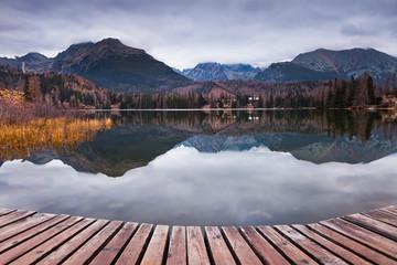Autumn Mountain Lake in Slovakian High Tatra National Park