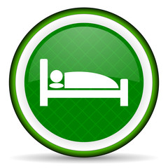 hotel green icon bed sign