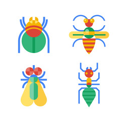 Four abstract colored insects.