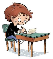 Niño escribiendo en la escuela