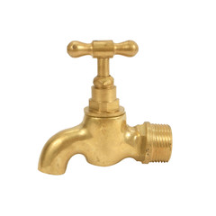 brass faucet isolated on white background