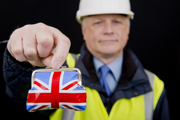 Building Contractor Holding UK Purse
