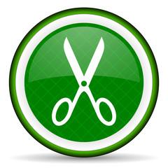 scissors green icon cut sign