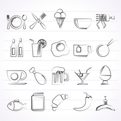 Food, drink and restaurant icons- vector icon set