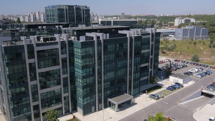 Aerial view of modern business buildings