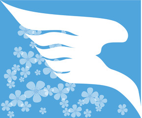 Dove wing silhouette on a sky and flowers background