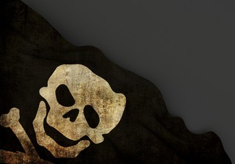 Death symbol 3d corner flag overlaid with grunge texture