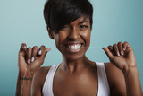 Fototapety happy girl have fun with a tooth floss. tooth care. white smile