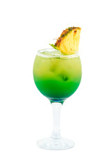 yellow green cocktail isolated on white background