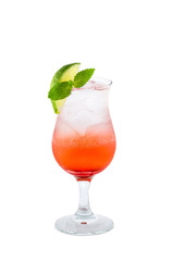 Red cocktail with ice and lime slice isolated on white backgroun