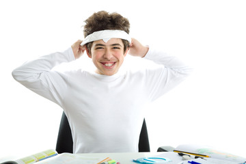 Caucasian smooth-skinned boy is tying around the forehead a whit