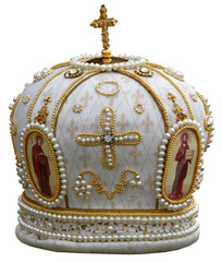 isolated solemn headgear of the orthodox bishop