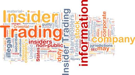 Insider trading background wordcloud concept illustration