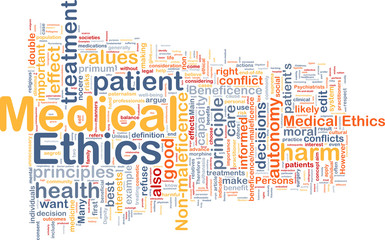 Medical ethics background wordcloud concept illustration