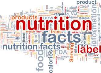 Nutrition facts background wordcloud concept illustration