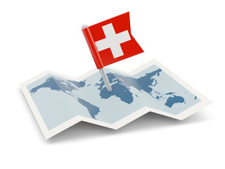 Map with flag of switzerland