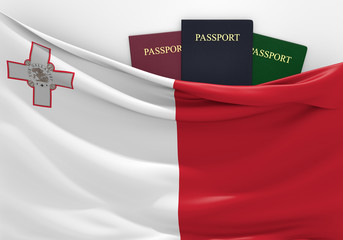 Travel and tourism in Malta, with assorted passports