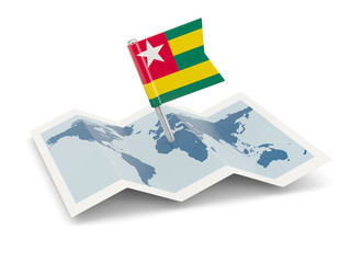 Map with flag of togo