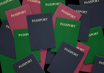 Travel and customs concept of passport books