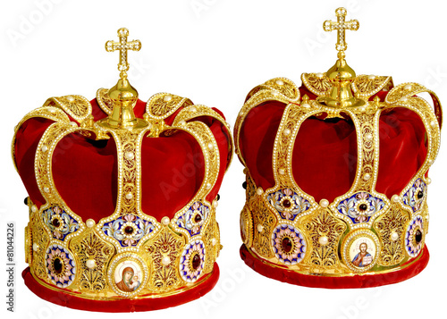 Two Orthodox Wedding Ceremonial Crowns Ready for Ceremony - 81044226