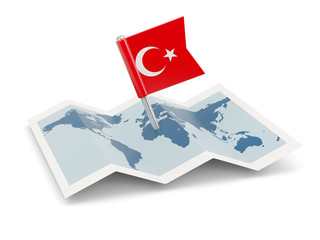 Map with flag of turkey