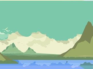 Illustration Mountain River