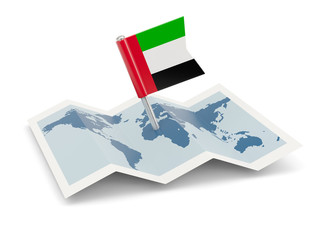 Map with flag of united arab emirates