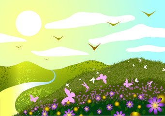 Spring landscape. Field, flowers, butterflies, sunset and river.
