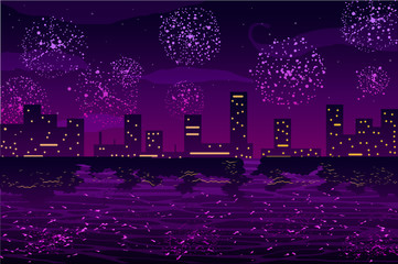 Salutes and fireworks in night city on the ocean