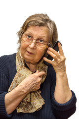 Pensioner woman wearing two pair of glasses calling phone