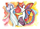Abstract couple dancing