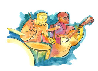 Drummer and guitarist playing jazz