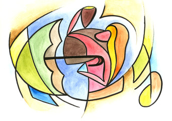 Romantic couple in abstract style