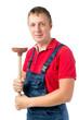 portrait plumbing plunger 30 years isolated