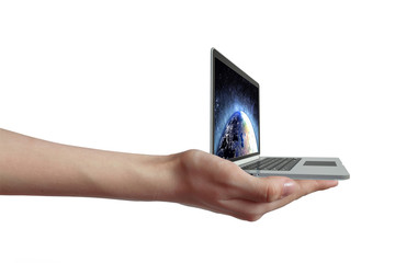 Hand with laptop