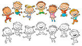 Happy Kids Laughing and Jumping with Joy - 81046470