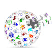 social media icons puzzle sphere 3d