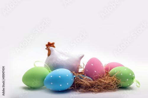 Fototapeta Decorative easter eggs isolated on white