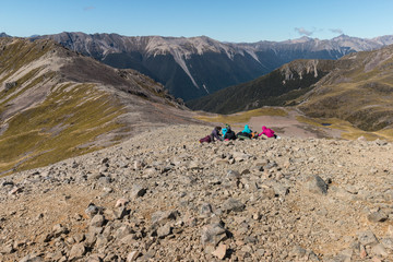 group of tourists resting in Southern Alps