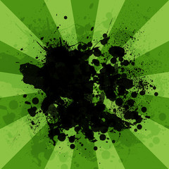 Abstract background is black blotches and green stripes at