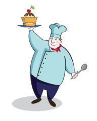 Fat chef with a delicious cake
