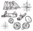 Set of hand drawn compasses and maps - 81048619