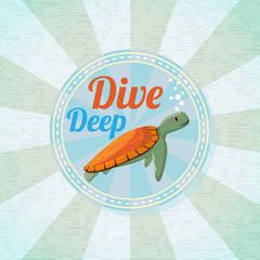 Deep diving ocean turtle. Retro background