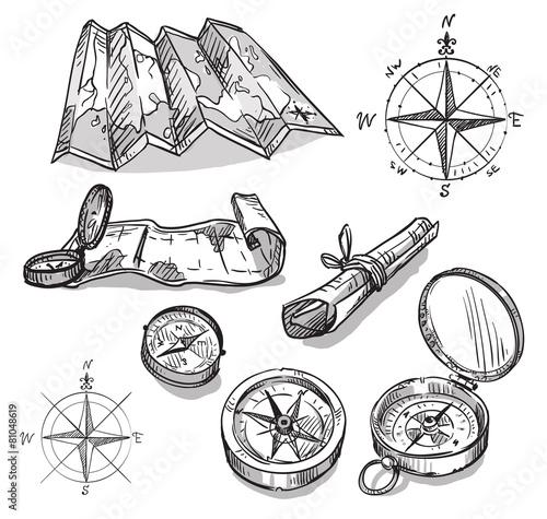 Fototapeta Set of hand drawn compasses and maps