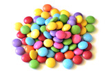 Isolated colored smarties on white background