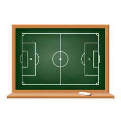 Soccer field drawn on a blackboard.