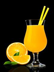 Orange juice on black