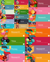 Mega collection of flat design infographic banners