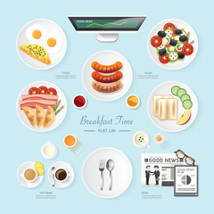 Infographic food business breakfast flat lay idea. salad,meal