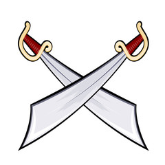 Set of swords isolated on white background. Weapons. Vector illu